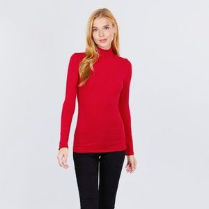 Red Long Sleeve Turtleneck Top